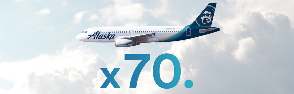 There are now 70 new Alaska Airlines cargo planes with 200 million pounds of additional belly capcity
