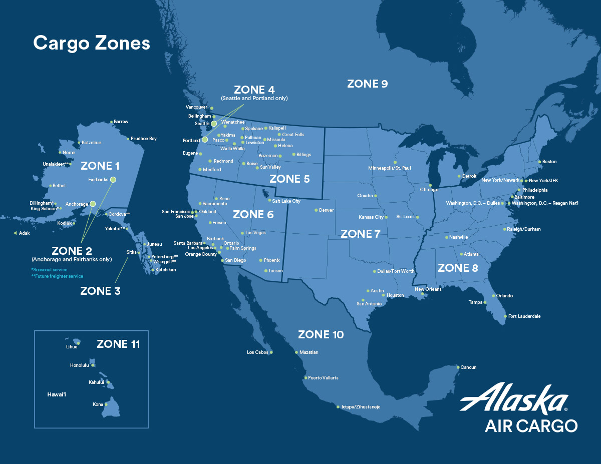Cargo route maps and zones | Alaska Airlines Cargo