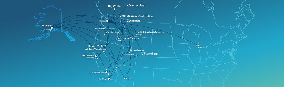 Our route map for ski destinations offers an overview of the routes that Alaska Airlines flies