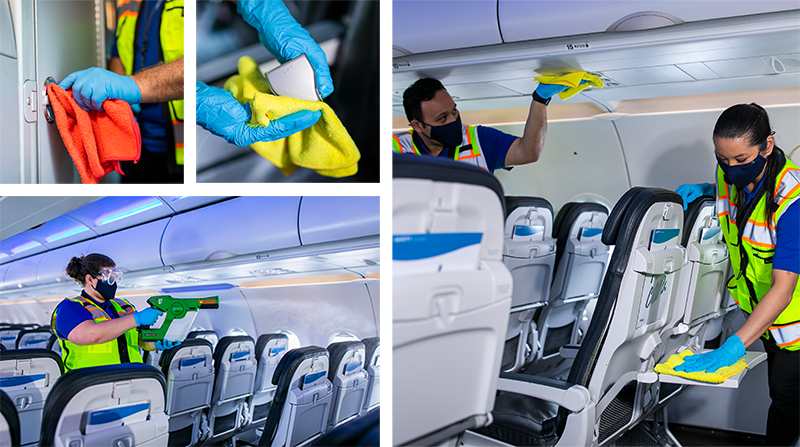 Grid image of employees cleaning the cabin of an airplane