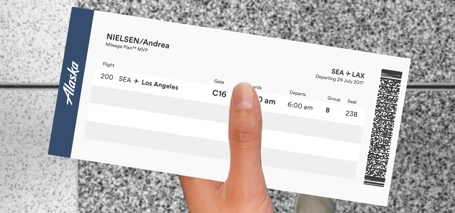 this image is an example of our paper boarding pass that you receive from a